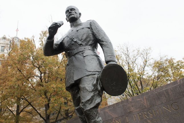 A statue of Gen. John Pershing is seen at the groundbreaking for the WWI Memorial in Washington, D.C., on November 9, 2017. The memorial was dedicated on Friday. File Photo by Kevin Dietsch/UPI