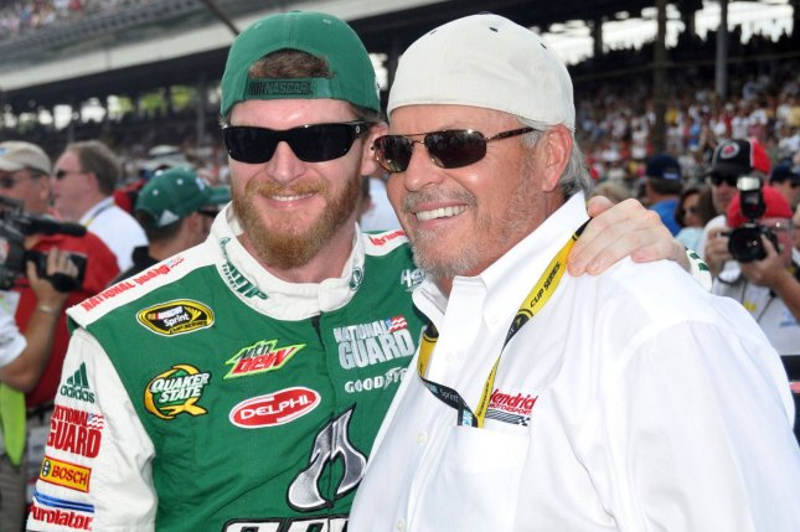 Team owner Dale Earnhardt Jr., driver of the #88 Amp Energy Chevrolet with team owner Rick Hendrick. UPI/Thomas E. Hayden
