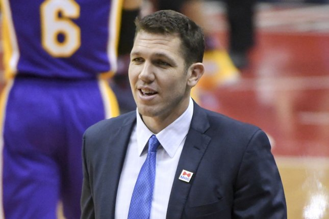 Los Angeles Lakers head coach Luke Walton smiles during a time out. File photo by Mark Goldman/UPI
