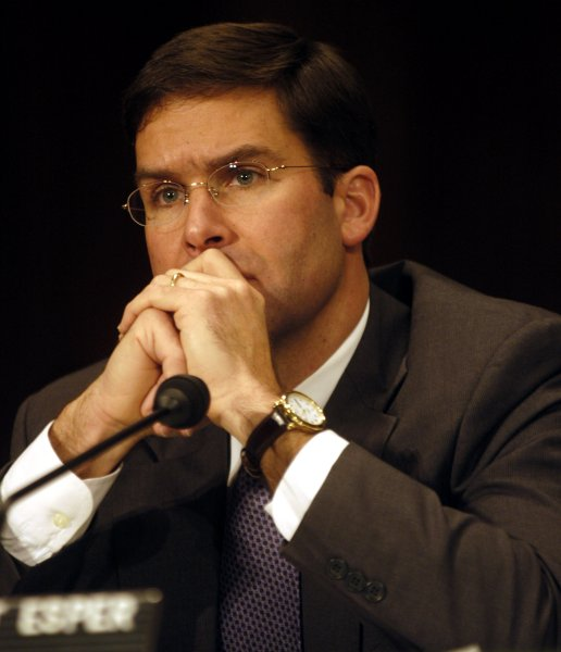 Mark Esper, vice president for governmental relations at Raytheon, has been nominated by the Trump administration to be secretary of the Army. Esper is pictured during testimony before the the Senate Foreign Relations Committee in 2004 when he was the Dept. Assistant Secretary for Negotiations Policy at the Dept. of Defense. File photo by Michael Kleinfeld/UPI