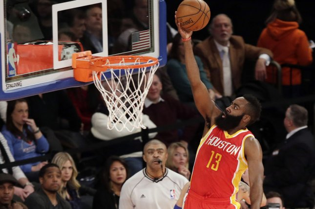 Houston Rockets James Harden shoots a lay up in the first half against the New York Knicks at Madison Square Garden in New York City on January 8, 2015. File photo by John Angelillo/UPI