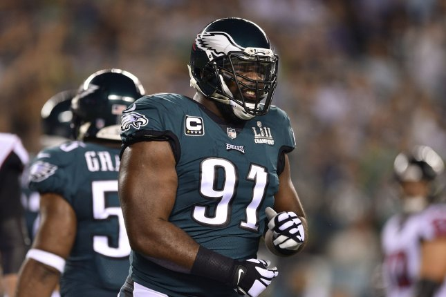 Philadelphia Eagles defensive end Fletcher Cox (91) reacts to a call on the field during the first quarter of an NFL football game against the Atlanta Falcons on Thursday at Lincoln Financial Field in Philadelphia. Photo by Derik Hamilton/UPI