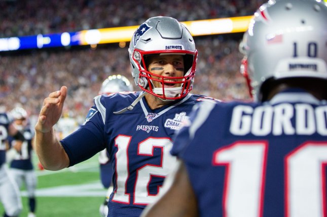 New England Patriots quarterback Tom Brady (12) had three touchdown passes in Week 1. He had six games with at least three touchdown passes in 2018. Photo by Matthew Healey/UPI
