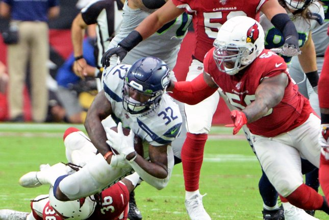 Arizona Cardinals linebacker Terrell Suggs (56) signed a one-year deal with the team in March but his role decreased throughout the season. File Photo by Art Foxall/UPI