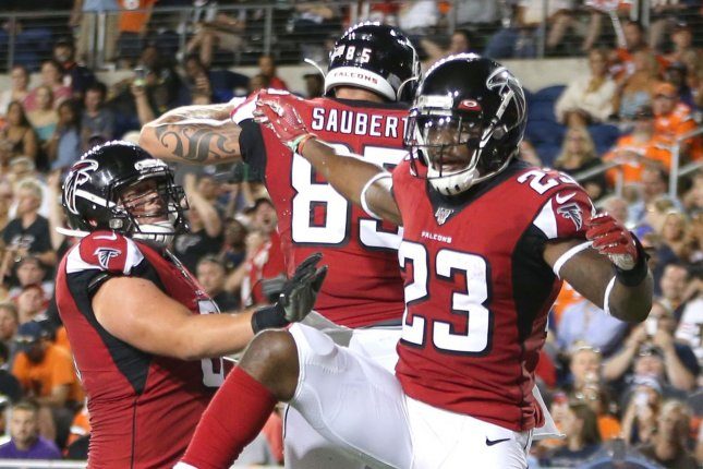 The Atlanta Falcons and Minnesota Vikings game -- planned for Sunday -- could now be in jeopardy after the Falcons closed their facilities Thursday due to positive COVID-19 tests. File Photo by Aaron Josefczyk/UPI