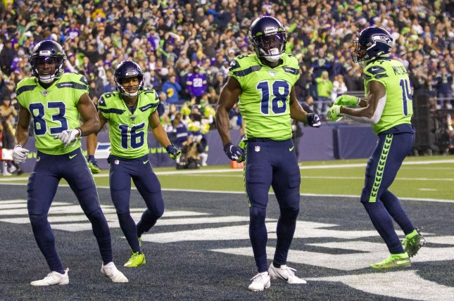 Seattle Seahawks wide receivers Tyler Lockett (16) and D.K. Metcalf (14) each scored touchdowns in a win over the Arizona Cardinals on Thursday in Seattle. File Photo by Jim Bryant/UPI