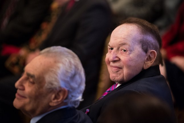 Businessman and Republican donor Sheldon Adelson (R) is seen during a Medal of Freedom ceremony at the White House in Washington, D.C., on November 16, 2018. File Photo by Kevin Dietsch/UPI
