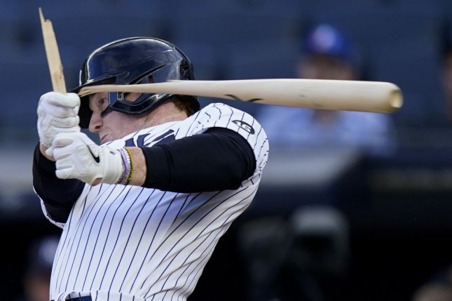 New York Yankees left fielder Clint Frazier breaks his bat in the seventh inning of Game 1 of a doubleheader against the Toronto Blue Jays on Thursday at Yankee Stadium in New York City. Photo by Corey Sipkin/UPI