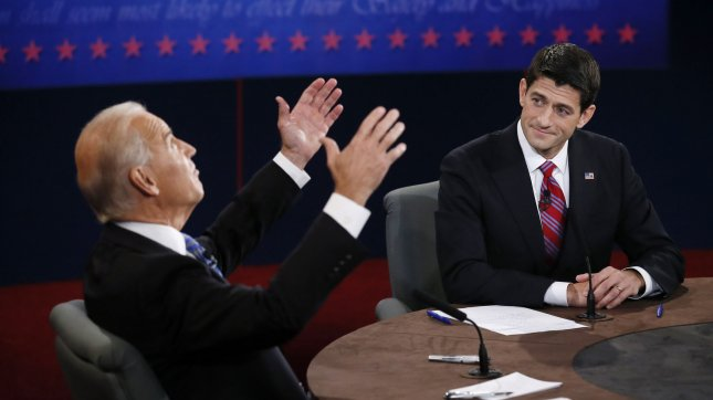 Vice-President Joe Biden (L) argues with Republican Vice-President nominee Paul Ryan at the Vice-Presidential debate at Centre College on October 11, 2012 in Danville, Kentucky. UPI/Rick Wilking POOL