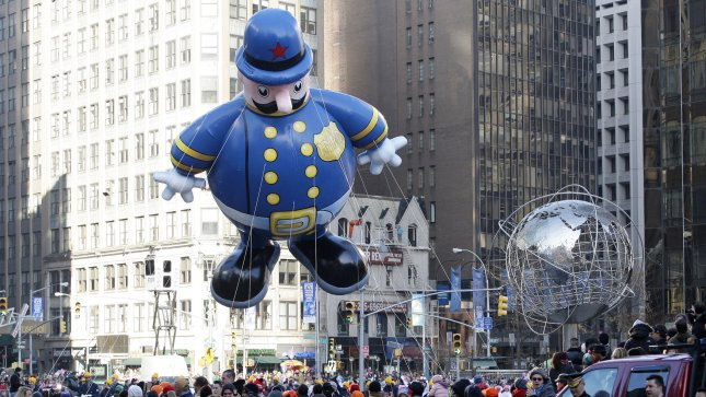 The Harold the Policeman balloon floats down the parade route at the Macy's 86th Annual Thanksgiving Day Parade in New York City on November 22, 2012. UPI/John Angelillo