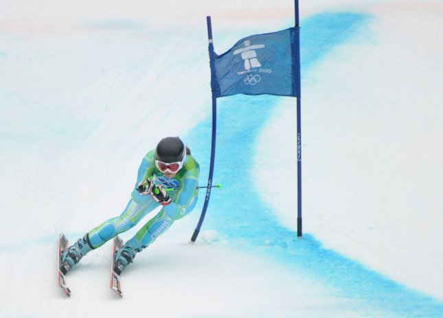 Slovenia's Tina Maze competes in the giant slalom in the Vancouver Winter Olympics Feb. 25, 2010. UPI/Kevin Dietsch