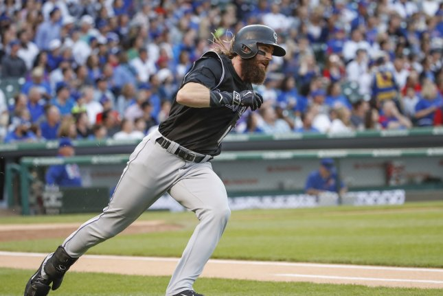Colorado Rockies Charlie Blackmon hit a two-run homer to help key the Rockies past the Chicago Cubs. File photo by Kamil Krzaczynski/UPI