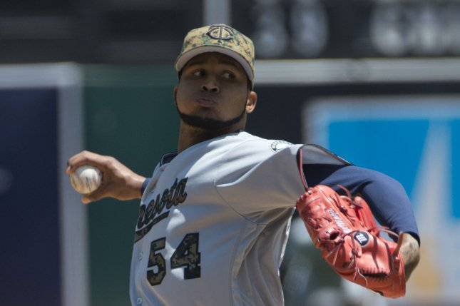 Minnesota Twins starting pitcher Ervin Santana had three-run double and pitched a four-hit shutout in a victory over San Francisco on Friday night. File photo by Terry Schmitt/UPI