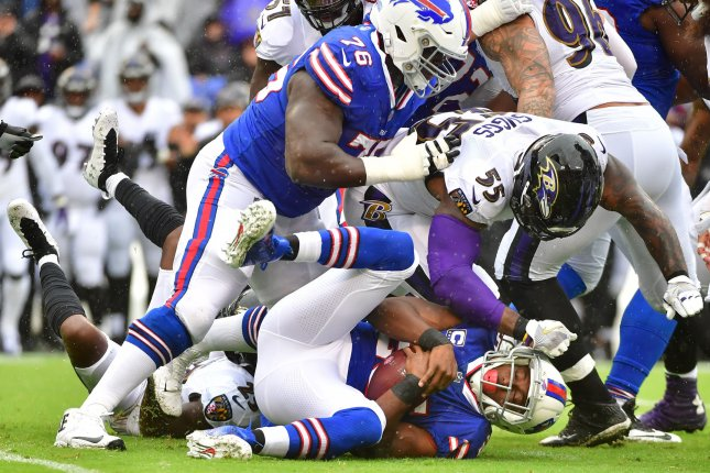 Former Buffalo Bills guard John Miller (76) is expected to sign with the Cincinnati Bengals on a three-year contract. File Photo by Kevin Dietsch/UPI