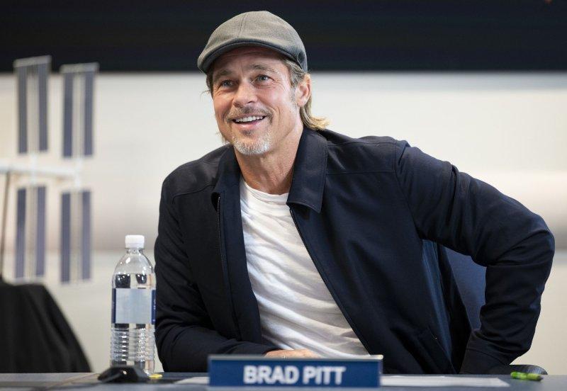 Actor Brad Pitt spoke with NASA astronaut Nick Hague who is onboard the International Space Station on Monday. NASA Photo by Joel Kowsky/UPI