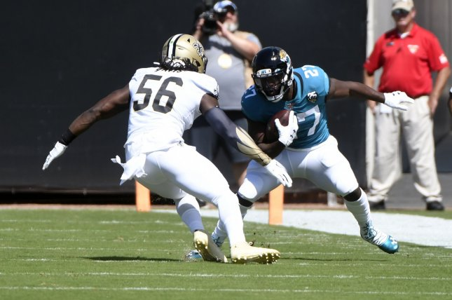 Jacksonville Jaguars running back Leonard Fournette (R) ranks third in the NFL with 584 rushing yards this season. He is averaging 5.1 yards per carry. Photo by Joe Marino/UPI