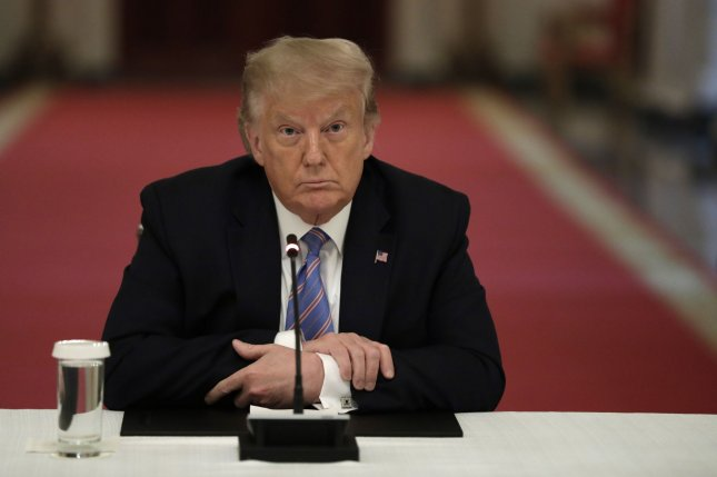 U.S. President Donald Trump participates in a national dialogue on safely reopening schools Tuesday at the White House. Photo by Yuri Gripas/UPI
