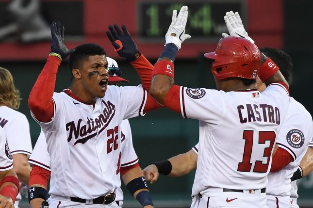 Washington Nationals outfielder Juan Soto (L) celebrates with teammates after hitting the game-winning single in the bottom of the ninth against the Atlanta Braves on Tuesday at Nationals Park in Washington, D.C. Photo by Pat Benic/UPI
