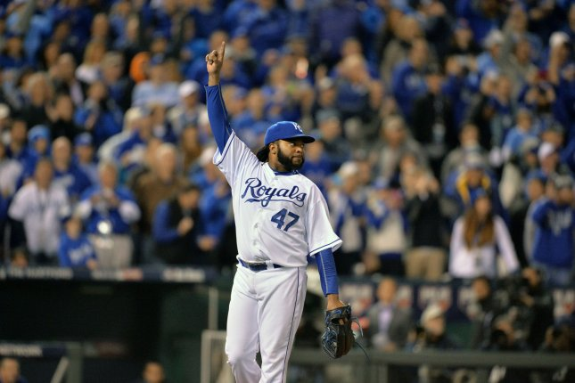 Kansas City Royals starting pitcher Johnny Cueto celebrates defeating the New York Mets 7-1 with a complete game in game 2 of the World Series at Kauffman Stadium in Kansas City, Missouri on October 28, 2015. The Royals go up 2-0 in the Series. Photo by Kevin Dietsch/UPI
