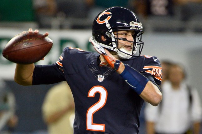 Chicago Bears quarterback Brian Hoyer throws the ball during the fourth quarter against the Philadelphia Eagles at Soldier Field in Chicago on September 19, 2016. Hoyer took over for Chicago Bears quarterback Jay Cutler in the fourth quarter. The Eagles defeated the Bears 29-14. Photo by Brian Kersey/UPI