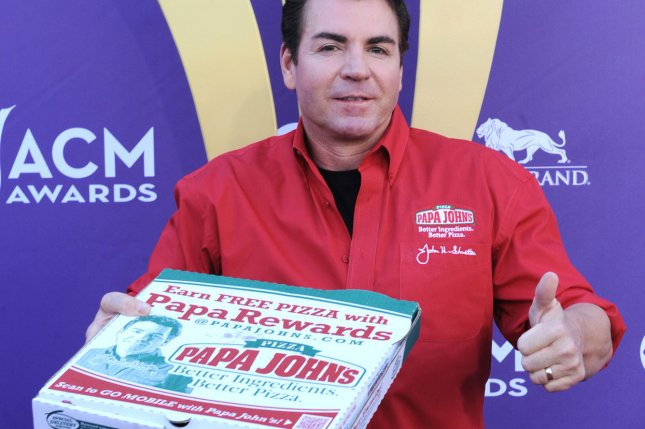 Papa John's Pizza CEO John Schnatter at the 47th annual Academy of Country Music Awards at the MGM Hotel in Las Vegas in 2012. Authorities in Washington state said a six-month investigation dubbed Operation Extra Olives found two employees of one of the chain's locations were selling cocaine at the eatery and delivering the drugs in pizza boxes. File Photo by UPI/Jim Ruymen