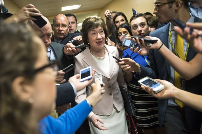 Sen. Susan Collins, R-Maine, was one of three Republican senators who said they wouldn't vote for repeal-only legislation to dismantle the Affordable Care Act. File Photo by Kevin Dietsch/UPI