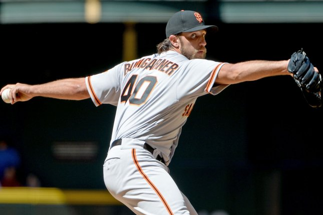 San Francisco Giants starting pitcher Madison Bumgarner. File Photo by Art Foxall/UPI