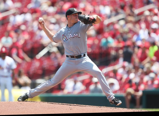 Trevor Richards and the Miami Marlins face the Baltimore Orioles on Sunday. Photo by Bill Greenblatt/UPI