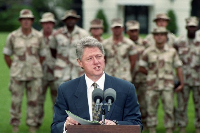 President Bill Clinton speaks with a group of U.S. troops just back from Somalia on May 5, 1993. Two months later, on July 19, 1993, Clinton announced its don't ask, don't tell, don't pursue policy toward homosexuals in the U.S. military. UPI File Photo