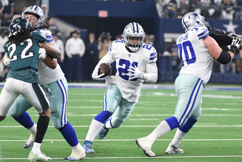 Dallas Cowboys running back Ezekiel Elliott (21) has led the NFL in rushing in two of his three seasons. File Photo by Ian Halperin/UPI
