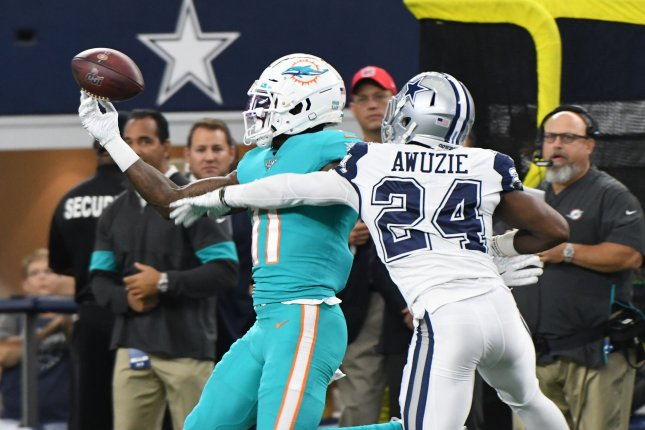 Miami Dolphins wide receiver DeVante Parker's extension is worth up to $40 million, with more than $20 million fully guaranteed. File Photo by Ian Halperin/UPI