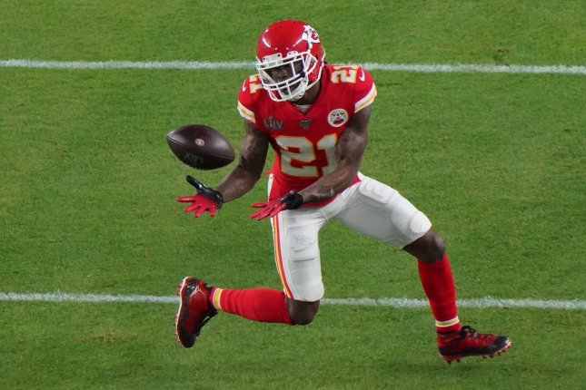 Kansas City Chiefs defensive back Bashaud Breeland recorded an interception in the team's Super Bowl victory over the San Francisco 49ers in February. File Photo by Jon SooHoo/UPI