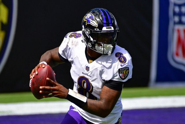 Baltimore Ravens quarterback Lamar Jackson is my top-ranked fantasy football player for his position in Week 2. Photo by David Tulis/UPI