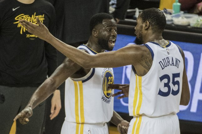 Golden State Warriors forward Draymond Green (23) and forward Kevin Durant (35), shown April 28, 2019, said they both believed that Steve Kerr and Bob Myers failed to properly handle the players' emotional back-and-forth dispute that occurred after a loss to the Los Angeles Clippers in November 2018. File Photo by Terry Schmitt/UPI
