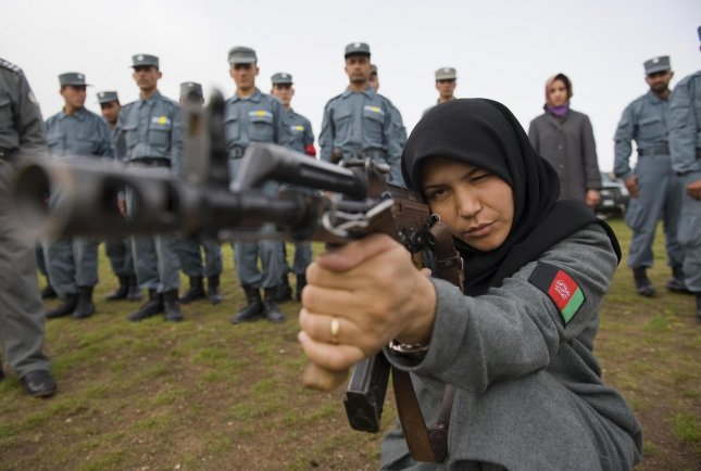 Afghan police officers train in Herat, Afghanistan, on April 21, 2010. NATO defense ministers have approved a mission to train the Afghan police in paramilitary skills in a bid to cut the force's soaring death rate. UPI/Hossein Fatemi