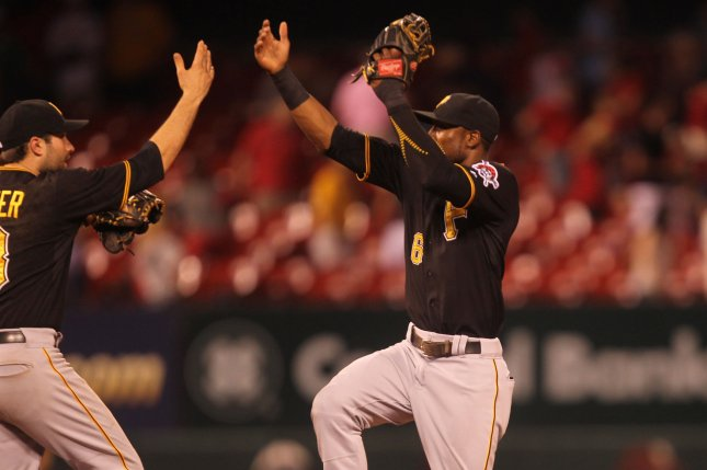 Pittsburgh Pirates Neil Walker (L) and Starling Marte celebrate a 10-5 win over the St. Louis Cardinals at Busch Stadium in St. Louis on August 13, 2015. Photo by Bill Greenblatt/UPI