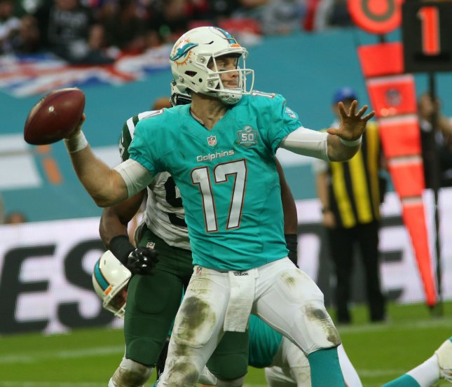 Miami Dolphins Quarter back Ryan Tannehill. Photo by Hugo Philpott/UPI.
