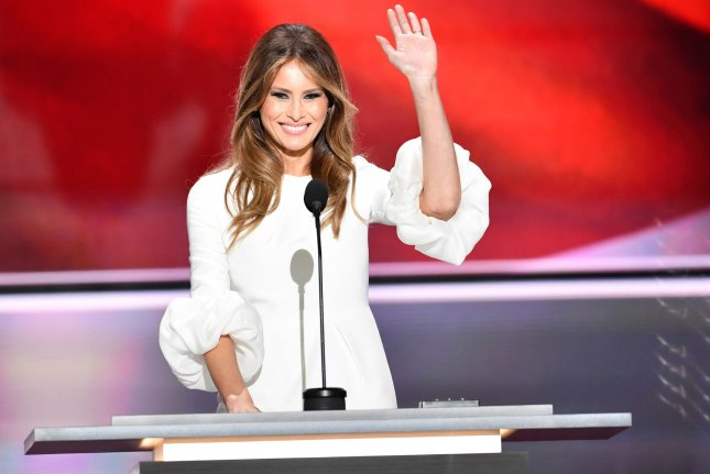 Melania Trump, pictured during her speech at the Republican National Convention in July, said in an interview with CNN's Anderson Cooper that while she was surprised by a 2005 recording of private comments about women by her husband, Donald Trump, she does not believe any of the accusations that have been made against him by multiple women since the tape was made public. Photo by Kevin Dietsch/UPI