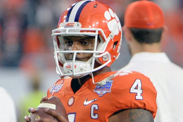 Clemson Tigers quarterback Deshaun Watson gets ready to throw a pass as he warms up before the 2016 Play Station Fiesta Bowl at University of Phoenix Stadium in Glendale, Arizona on December 31, 2016. Photo by Art Foxall/UPI ....