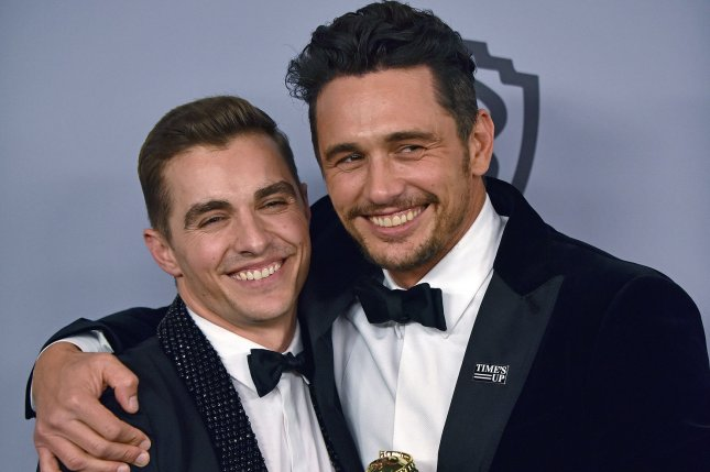 James Franco (R), pictured here with his brother Dave Franco (L), at the Golden Globes. The actor appeared on The Late Show Tuesday and denied sexual misconduct claims that were posted on Twitter. File Photo by Christine Chew/UPI