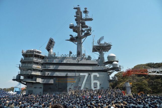 The USS Ronald Reagan, pictured, took part in bilateral drills in the East China Sea this week, according to a Japanese press report. File Photo by Keizo Mori/UPI