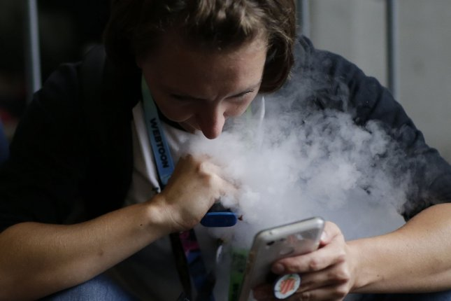 U.S. vaping deaths have risen to 34, with 1,888 cases of vaping-related lung injury in 49 states, the CDC said. File Photo by John Angelillo/UPI