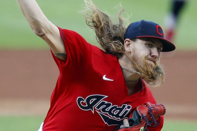 Cleveland Indians pitcher Mike Clevinger will miss his start Tuesday after he violated MLB and team coronavirus safety protocols. Photo by Aaron Josefczyk/UPI