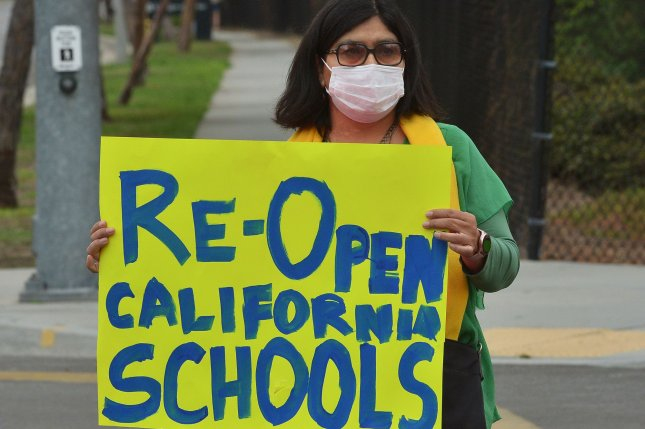 California parents, educators and students rally in support of reopening schools for in-classroom instruction in September. Photo by Jim Ruymen/UPI