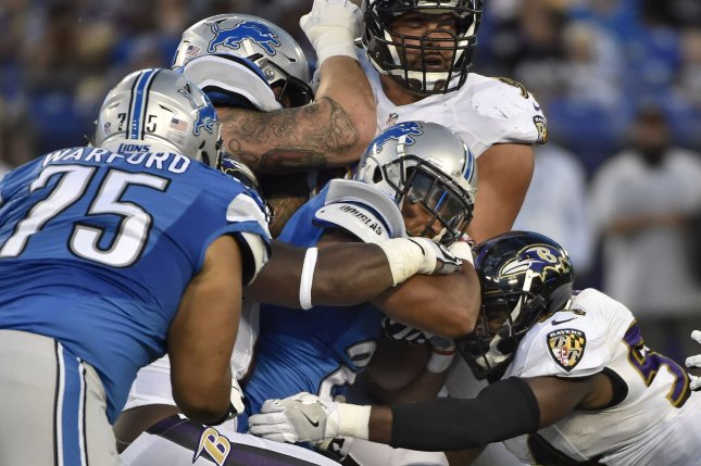 Detroit Lions running back Ameer Abdullah (21) is smothered by Baltimore Ravens defenders during the first half on Maryland, August 27, 2016. A dynamic runner should be at the top of Detroit's wish list. Photo by David Tulis/UPI