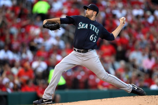 Seattle Mariners starting pitcher James Paxton delivers a pitch. File photo by Bill Greenblatt/UPI