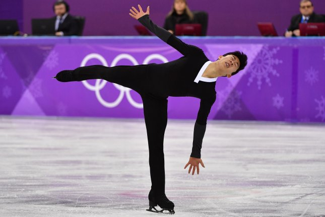 Nathan Chen of the United States competes in the finals for the Men's Single Skating Short Program during the Pyeongchang 2018 Winter Olympics, at the Gangneung Ice Arena in Gangneung, South Korea, on February 17, 2018. Photo by Richard Ellis/UPI