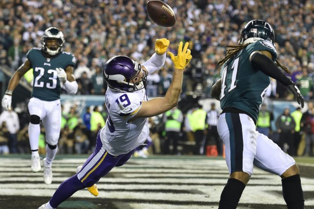 Minnesota Vikings wide receiver Adam Thielen (19) fails to catch the pass in the end zone against the Philadelphia Eagles in the NFC Championship Game on January 21, 2018 at Lincoln Financial Field in Philadelphia. Photo by Derik Hamilton/UPI