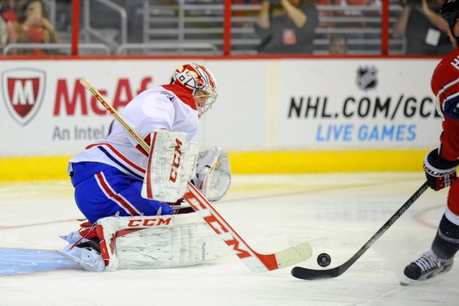 Montreal Canadiens goalie Carey Price (31) makes a save on shot against the Washington Capitals in the second period on January 24, 2013 at the Verizon Center in Washington, D.C. File photo by Mark Goldman/UPI