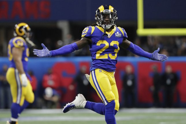 Los Angeles Rams cornerback Nickell Robey-Coleman (23) was fined by the NFL again for his hit on New England Patriots running back Rex Burkhead. Photo by John Angelillo/UPI